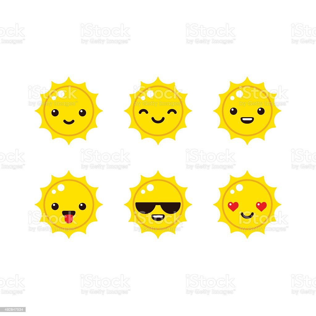 Cartoon sun emoticons vector art illustration