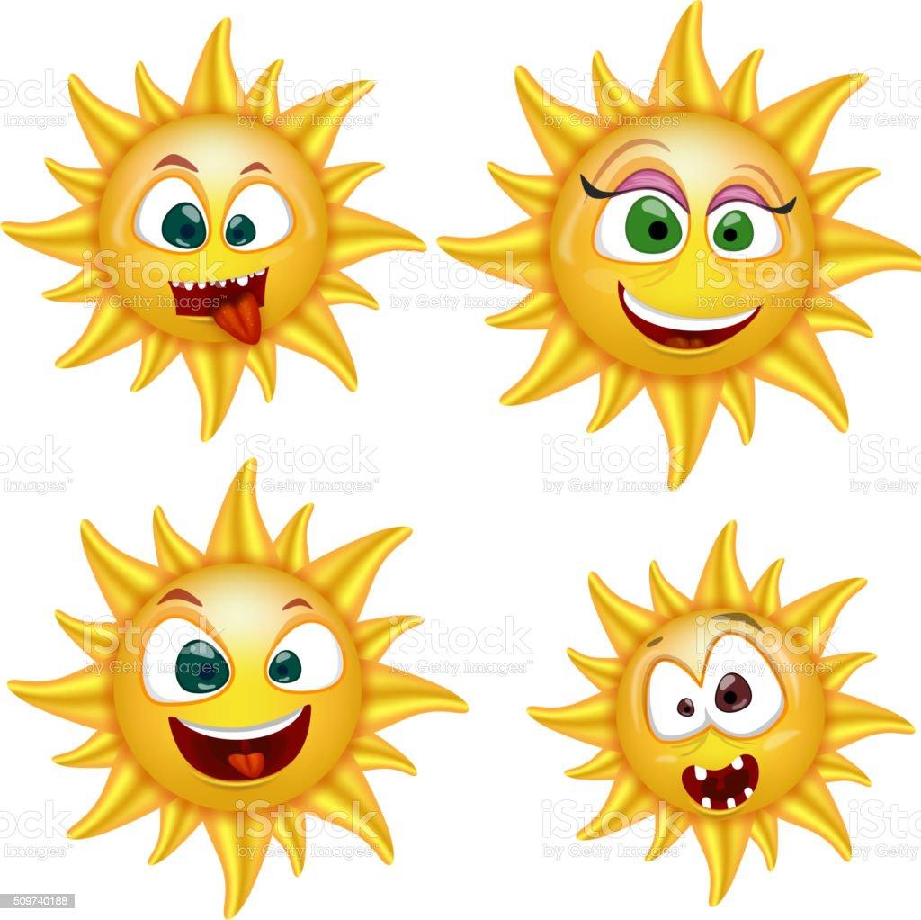 Cartoon Sun Faces vector art illustration
