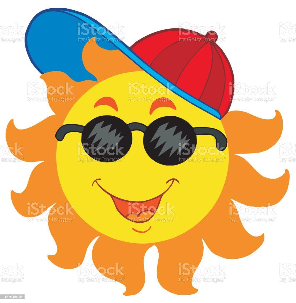 Cartoon Sun in baseball cap royalty-free stock vector art