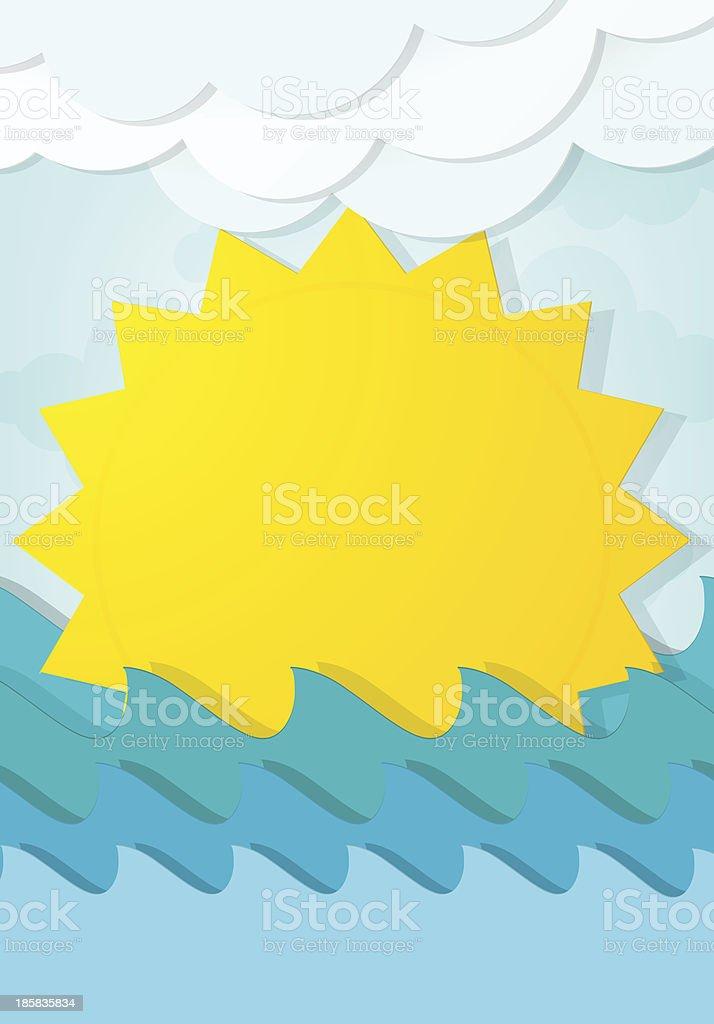 Soleil de dessin animé dans les vagues stock vecteur libres de droits libre de droits