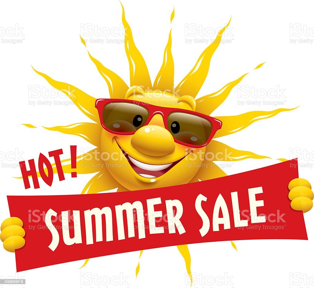 Cartoon Sun - Summer Sale vector art illustration