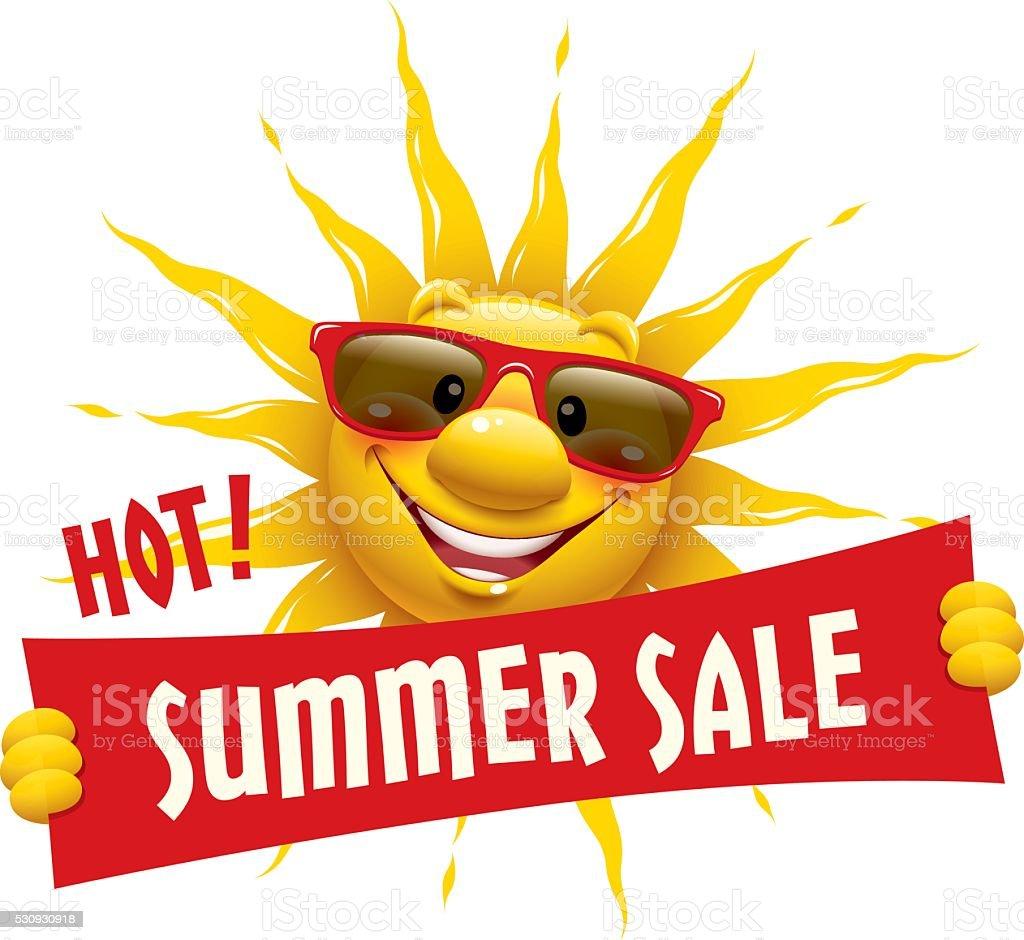 Cartoon Sun - Summer Sale vector art illustration