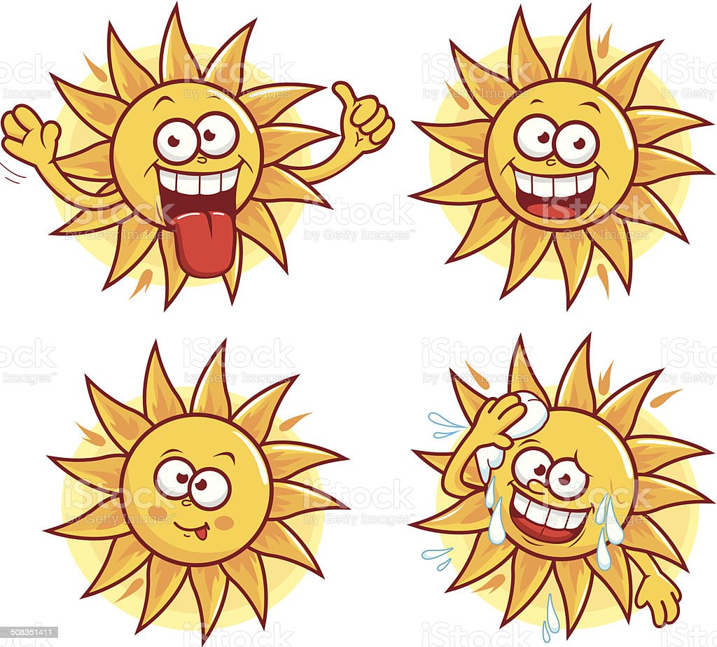 Cartoon sun vector set vector art illustration