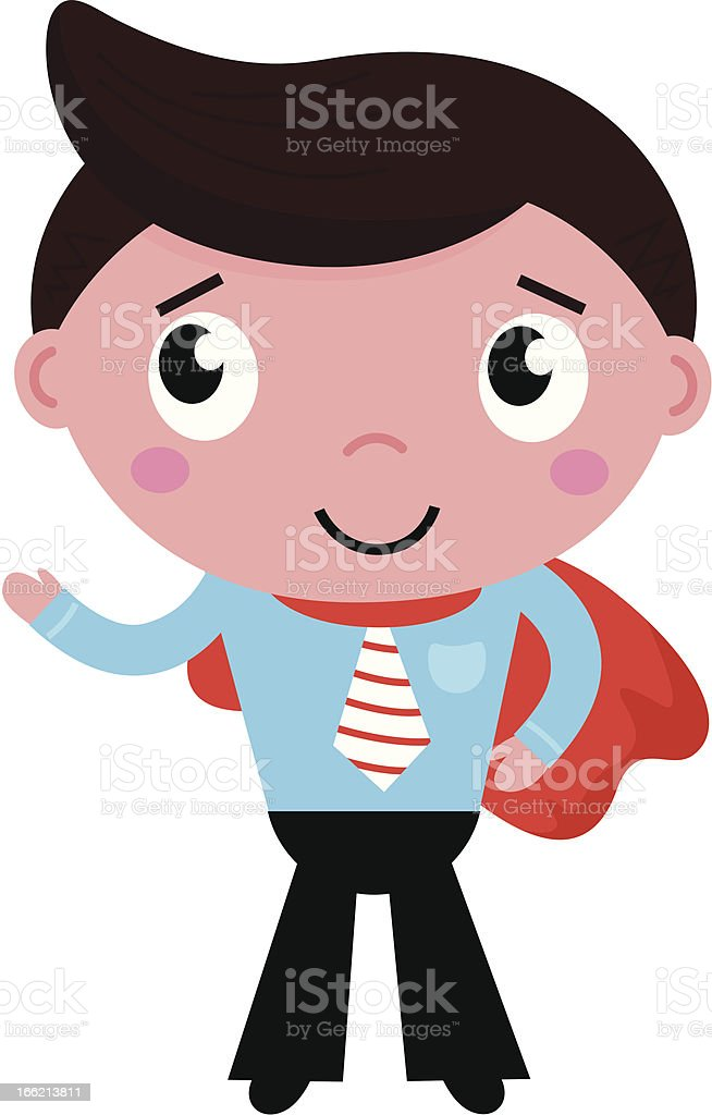 Cartoon superhero businessman in red cape isolated on white royalty-free stock vector art