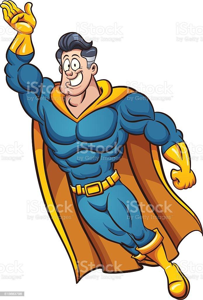 Cartoon superhero vector art illustration