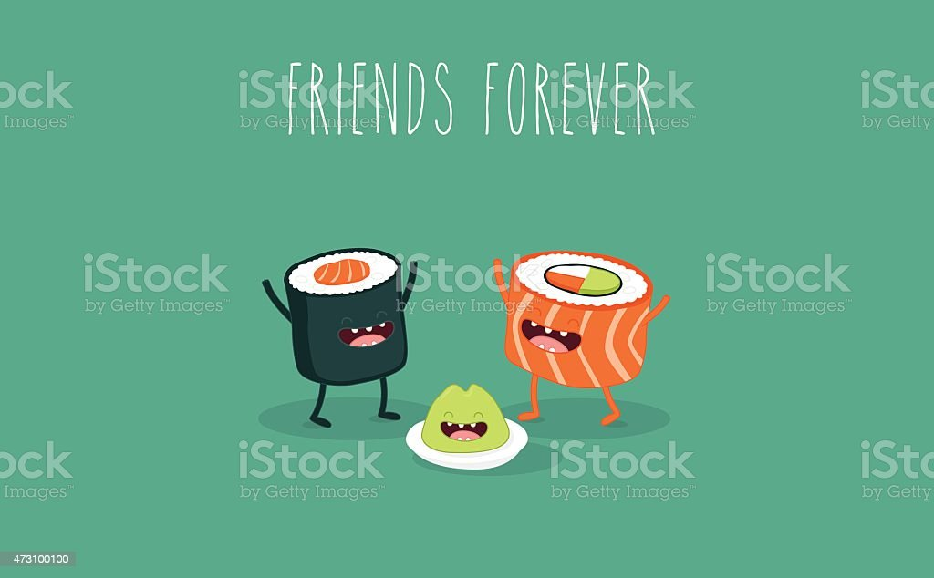 Cartoon sushi rolls that are friends forever vector art illustration