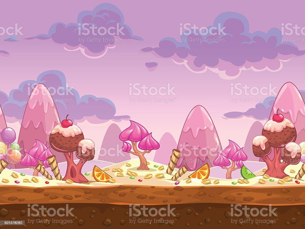 Cartoon sweet candy land seamless illustration vector art illustration