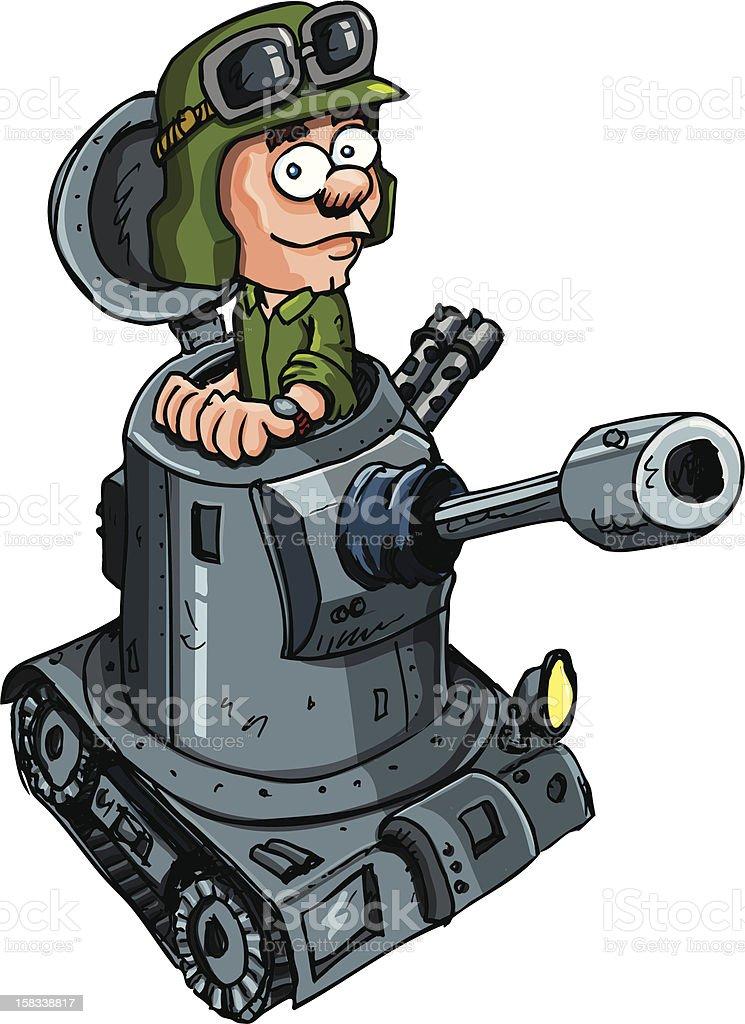 Cartoon tank and driver vector art illustration