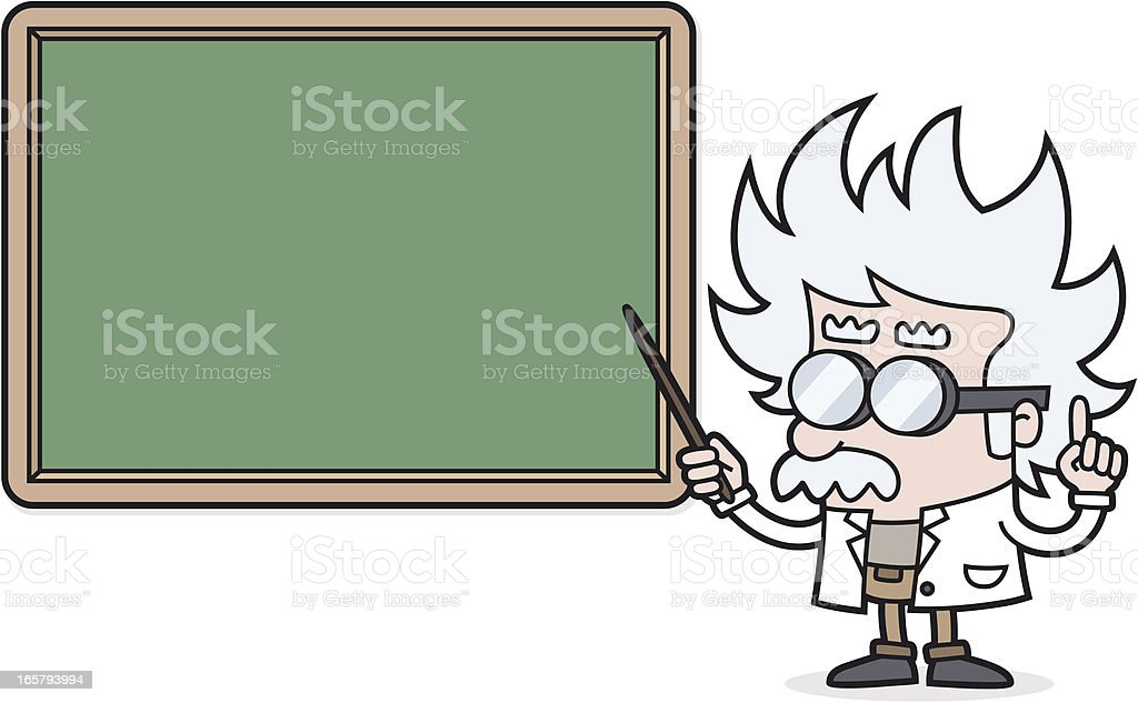 cartoon Teacher points to blackboard for your text /scientist /professor royalty-free stock vector art