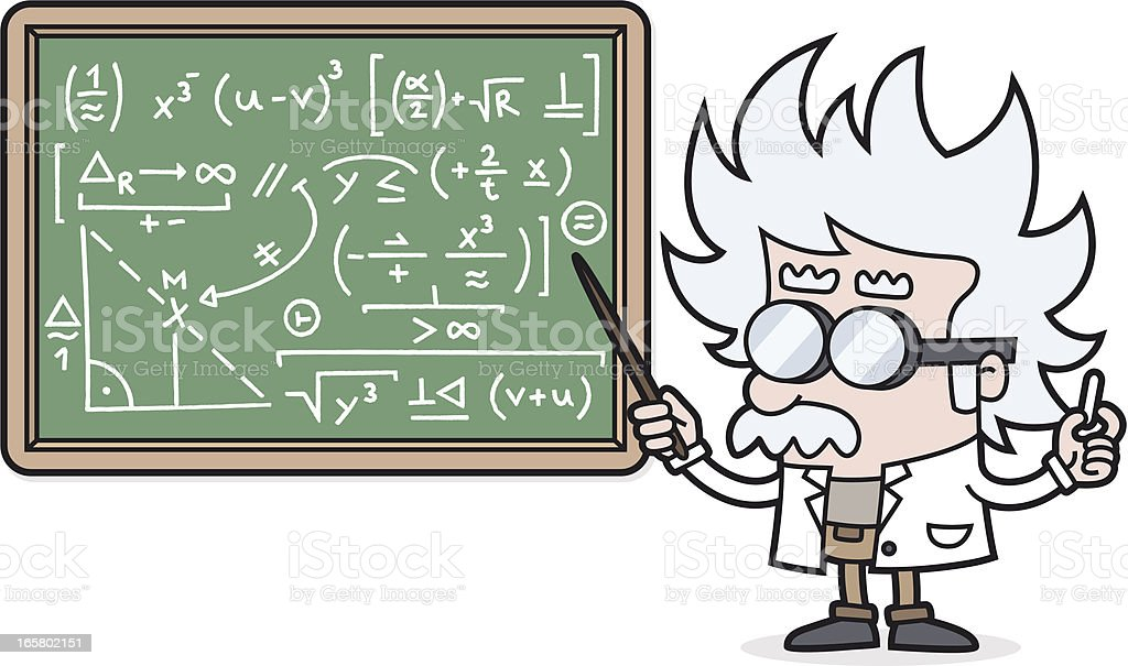 cartoon Teacher with a complicated calculation /scientist /professor vector art illustration
