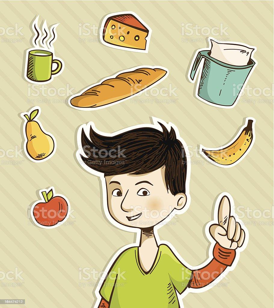 Cartoon teenager shows healthy food royalty-free stock vector art