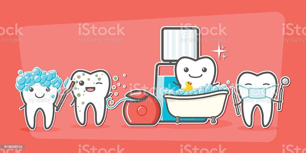 Cartoon teeth care and hygiene concept. vector art illustration