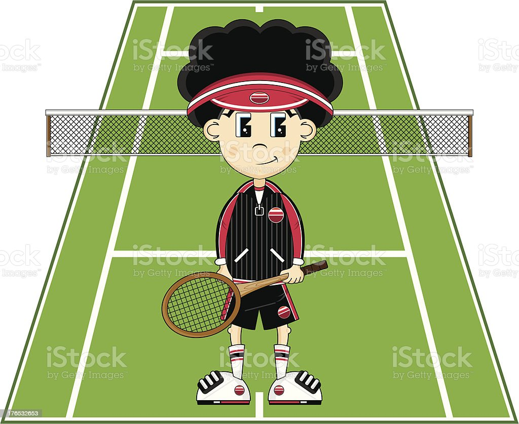 Cartoon Tennis Boy royalty-free stock vector art