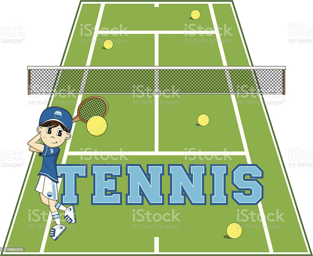 Cartoon Tennis Boy royalty-free stock vector art