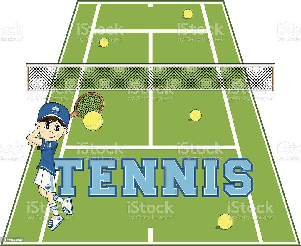 Cartoon Tennis Boy vector art illustration