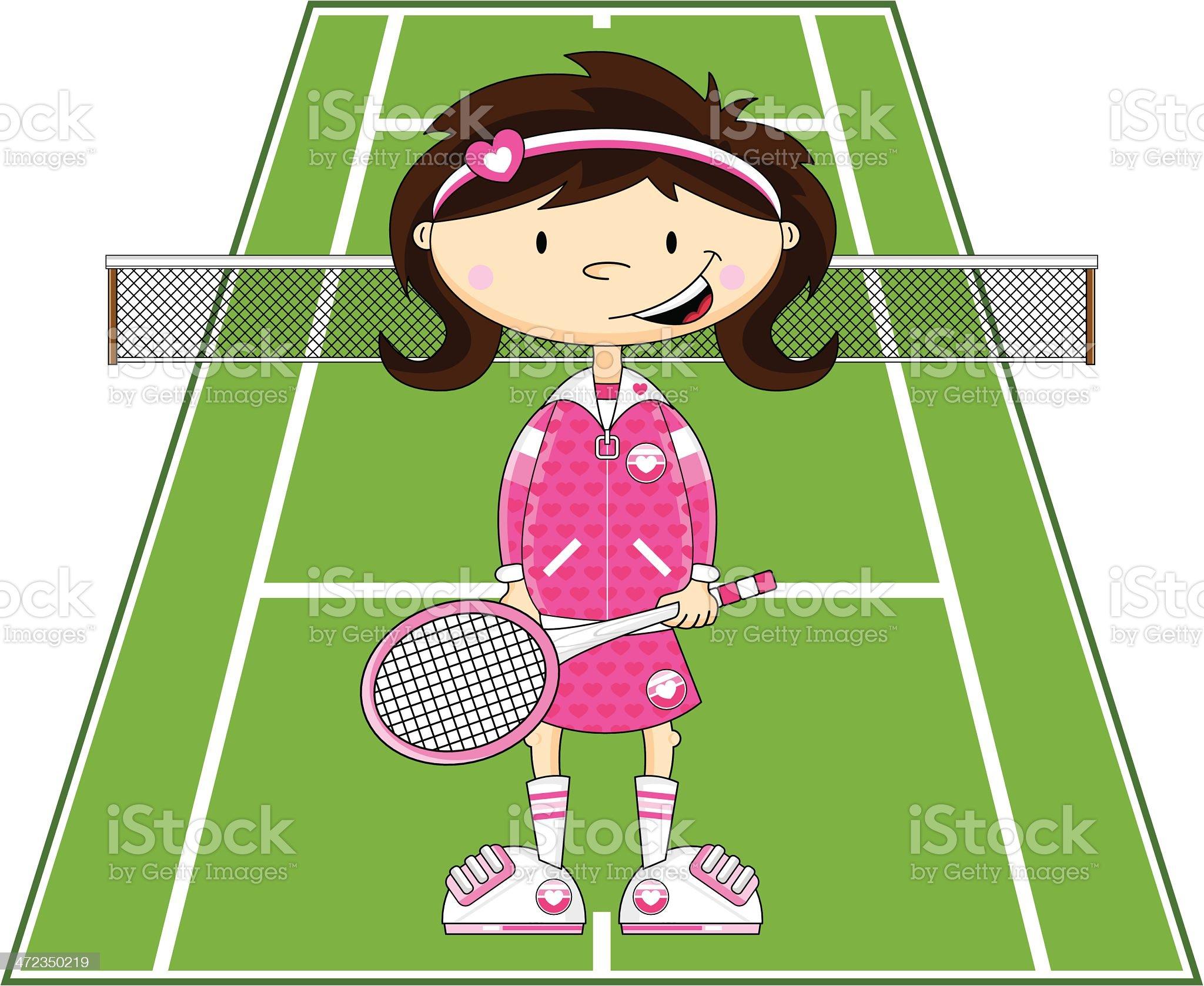 Cartoon Tennis Girl royalty-free stock vector art