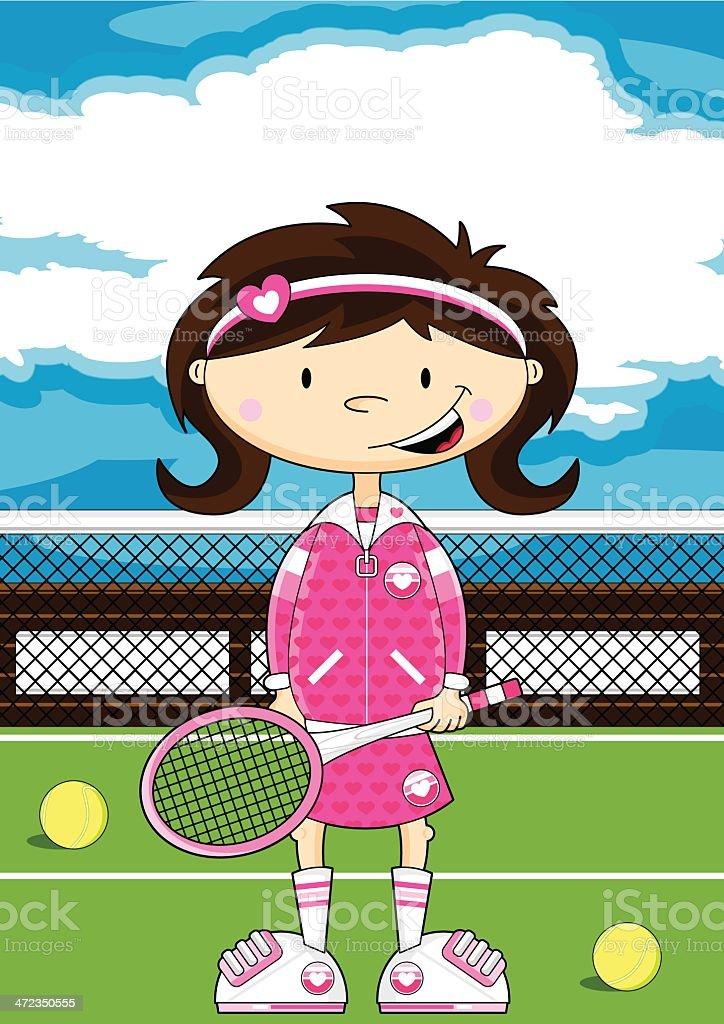 Cartoon Tennis Girl vector art illustration