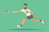 Cartoon tennis player. comic flat design