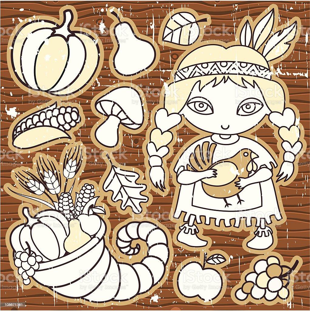 Cartoon Thanksgiving set of design elements. royalty-free stock vector art