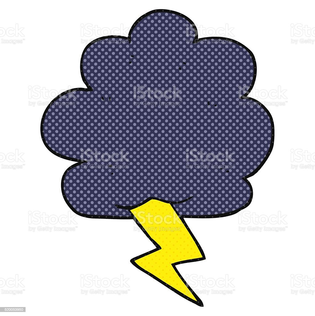 cartoon thundercloud vector art illustration