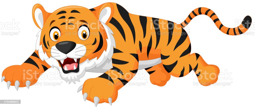 Cartoon tiger jumping vector art illustration