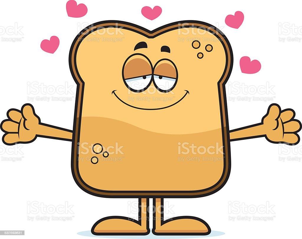 Cartoon Toast Hug vector art illustration