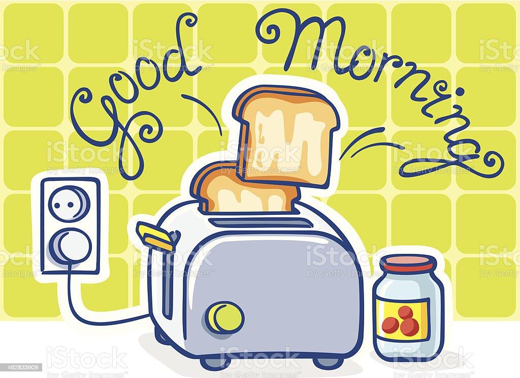 cartoon toaster and jam vector art illustration
