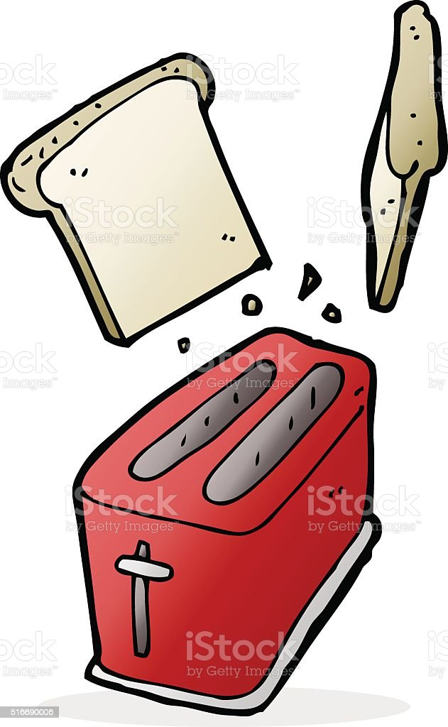 cartoon toaster spitting out bread vector art illustration