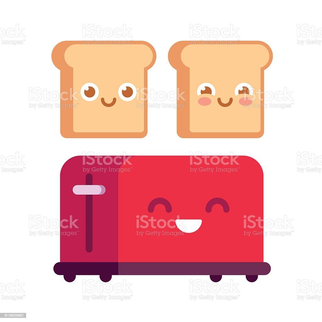Cartoon toaster with toasts vector art illustration