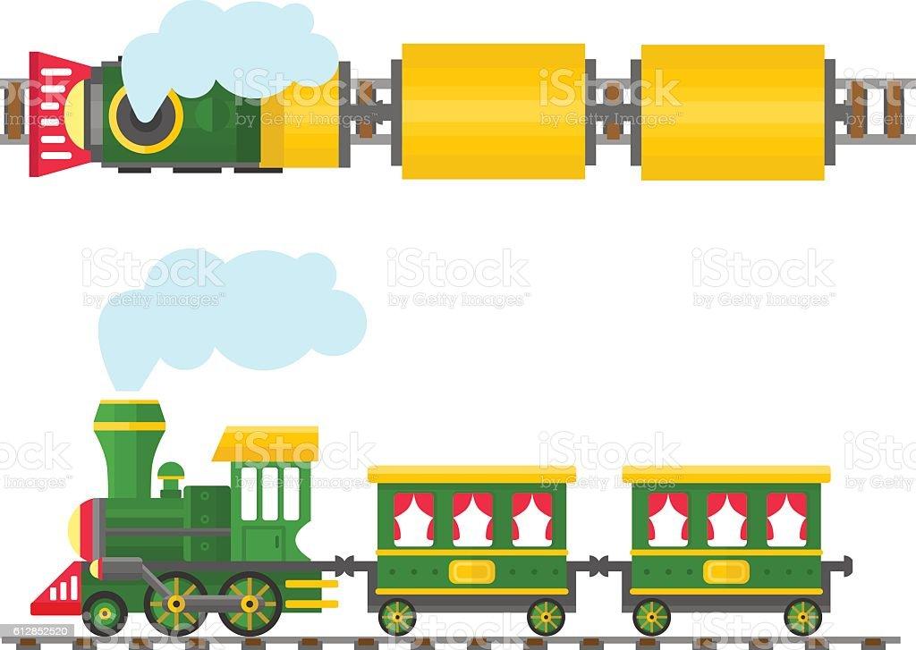 Cartoon toy train with colorful blocks, vector set. vector art illustration