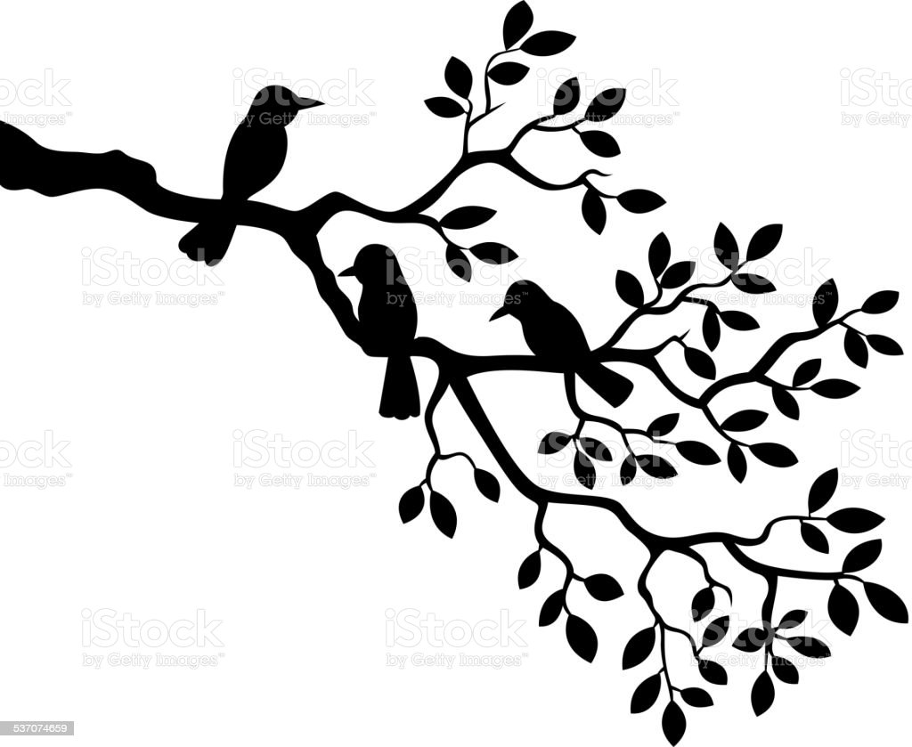 Vector illustration of Cartoon tree branch with bird silhouette