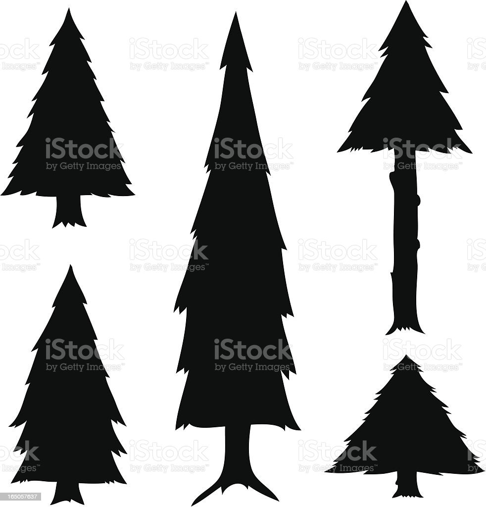Cartoon Tree Silhouettes royalty-free stock vector art