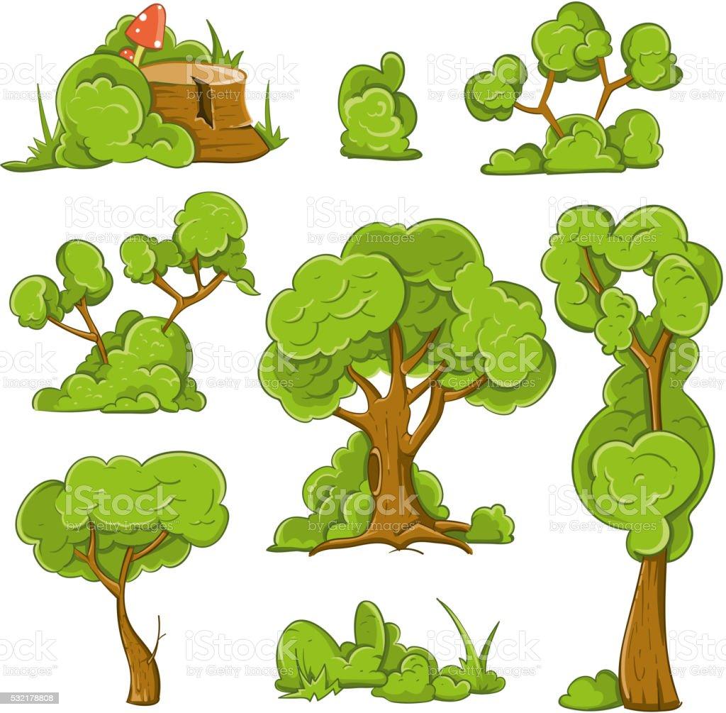 Cartoon trees and bushes vector set vector art illustration