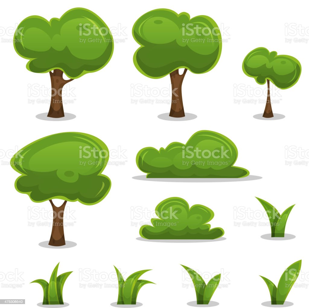 Cartoon Trees, Hedges And Grass Leaves Set vector art illustration