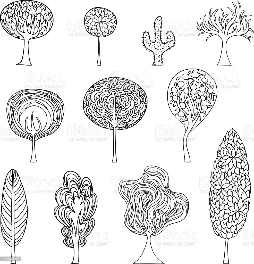 cartoon trees illustration in black and white stock vector art