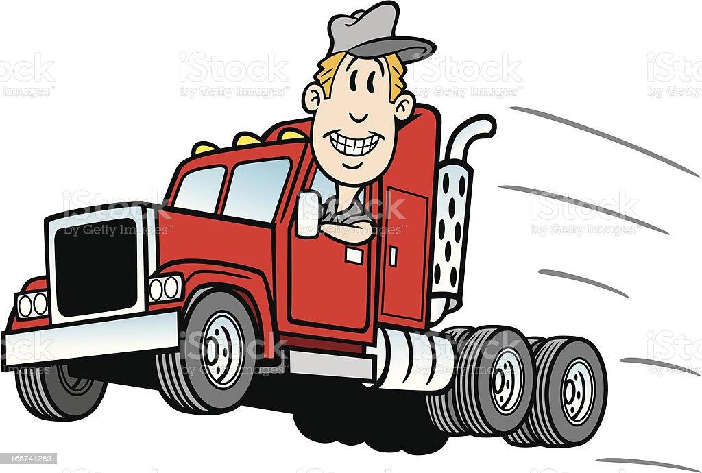 Cartoon Trucker vector art illustration