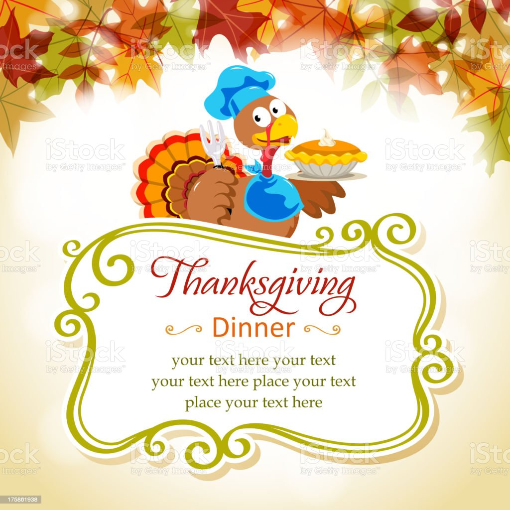 Cartoon Turkey in Thanksgiving Place Card royalty-free stock vector art