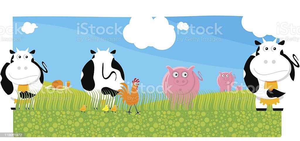 Cartoon type image of farm animals on a field. royalty-free stock vector art