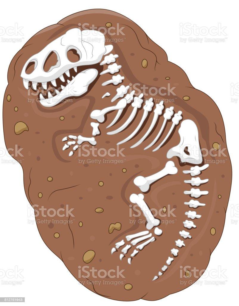 Cartoon Tyrannosaurus rex fossil vector art illustration