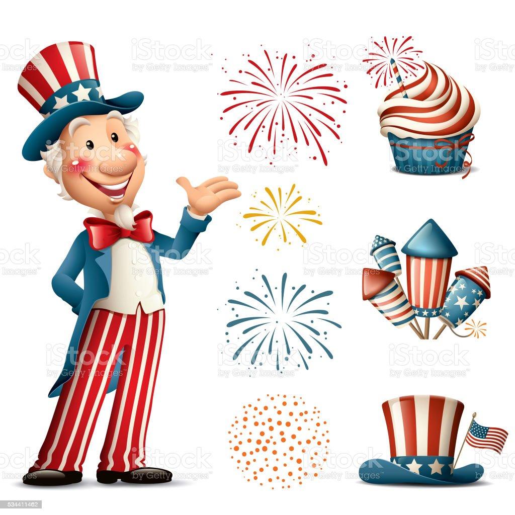 Cartoon Uncle Sam - fourth of july set vector art illustration