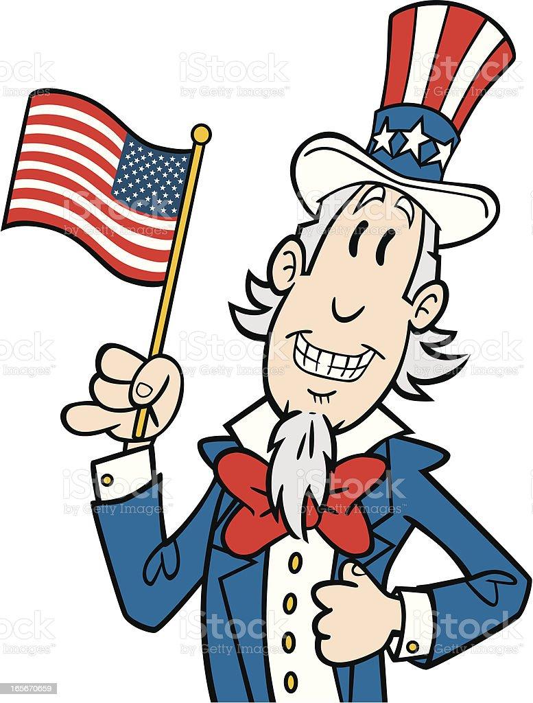 Cartoon Uncle Sam vector art illustration