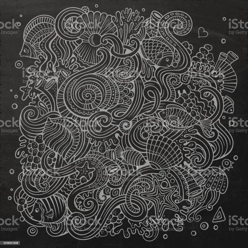 Cartoon Underwater life chalkboard illustration vector art illustration