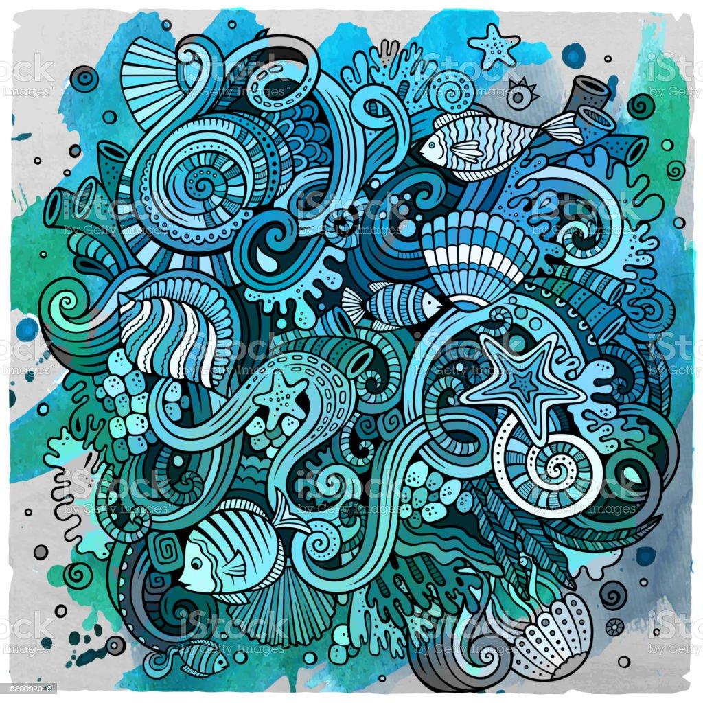 Cartoon Underwater life illustration vector art illustration
