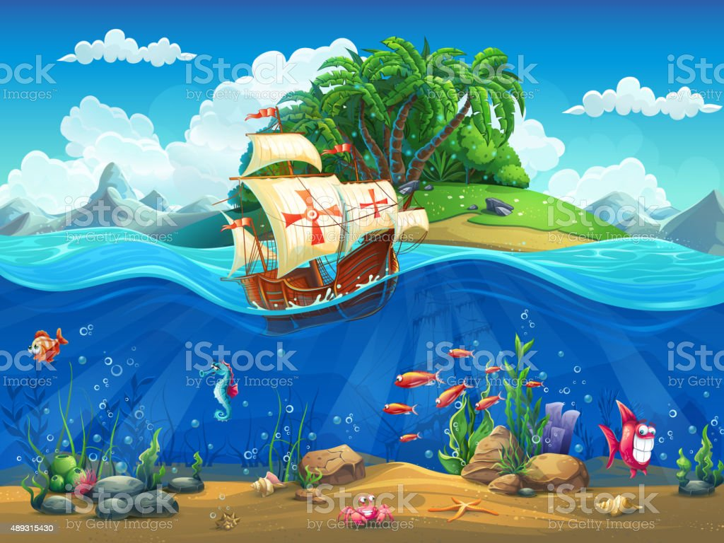 Cartoon underwater world with fish, plants, island and caravel vector art illustration