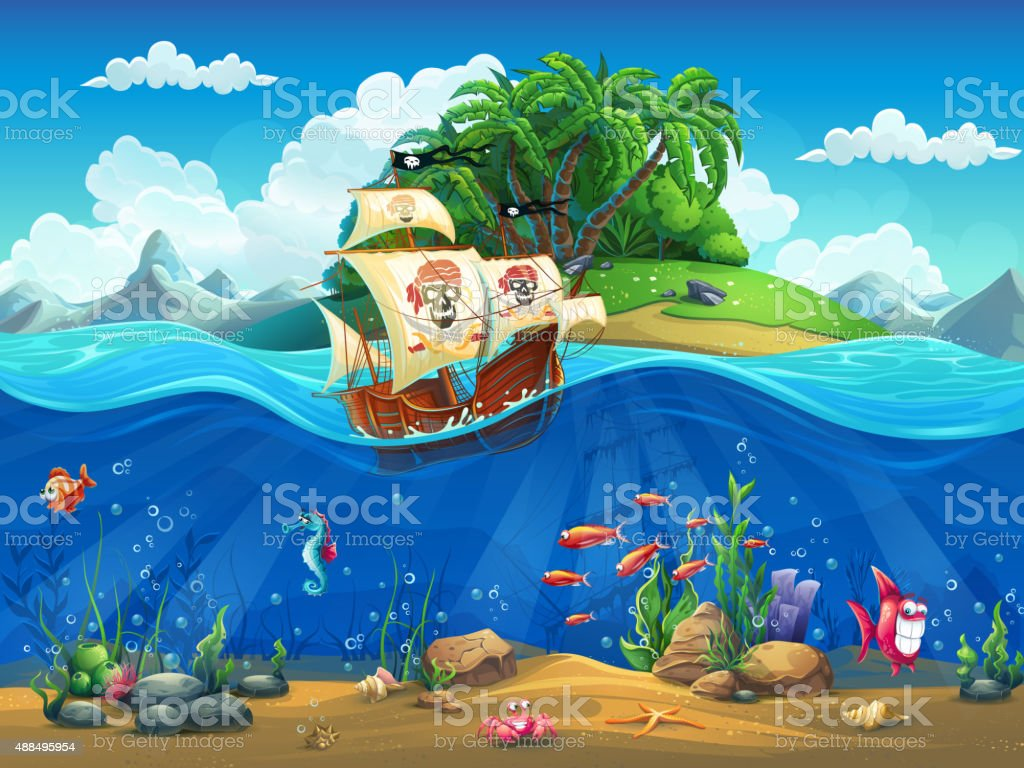 Cartoon underwater world with fish, plants, island and ship vector art illustration