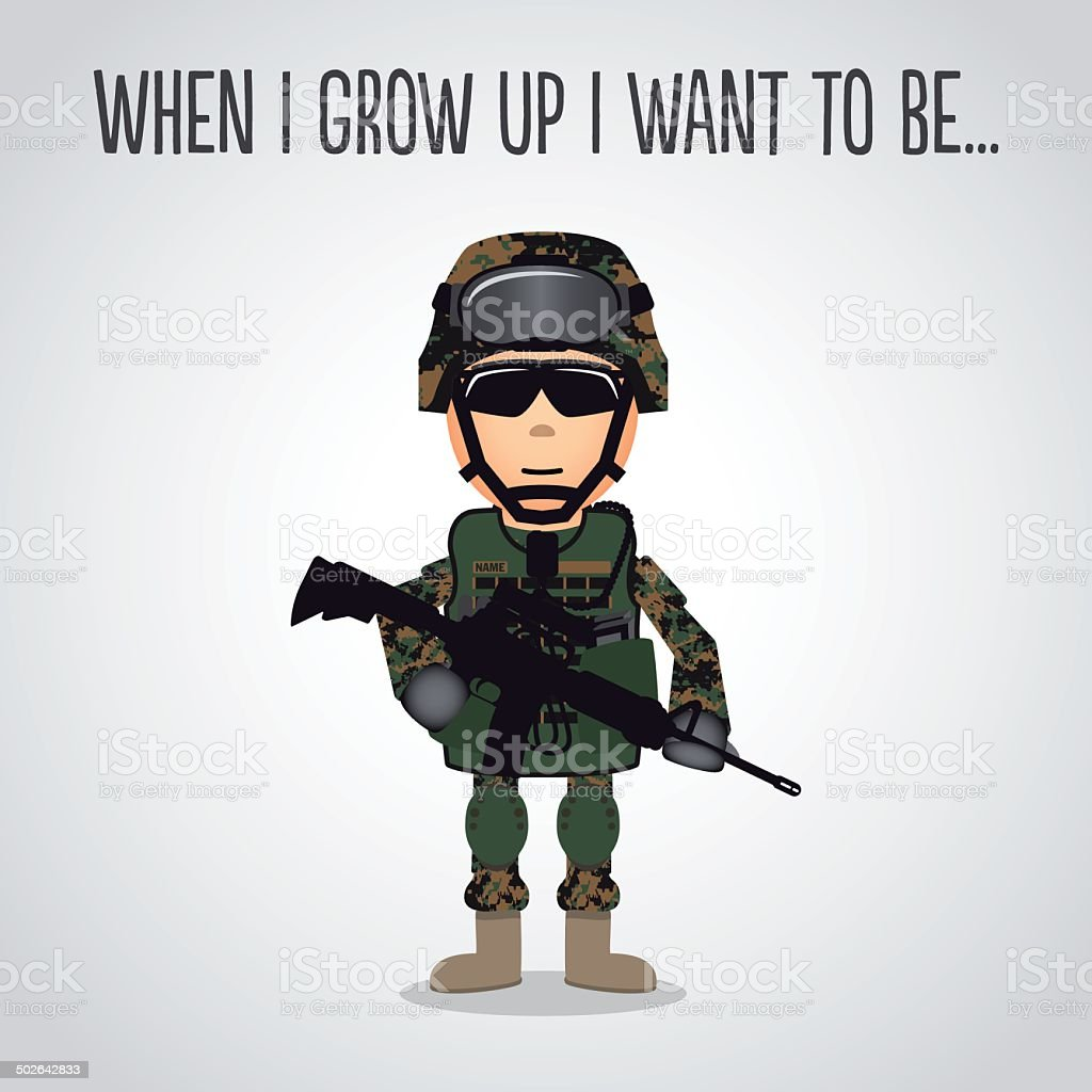 Cartoon U.S. Marines vector art illustration