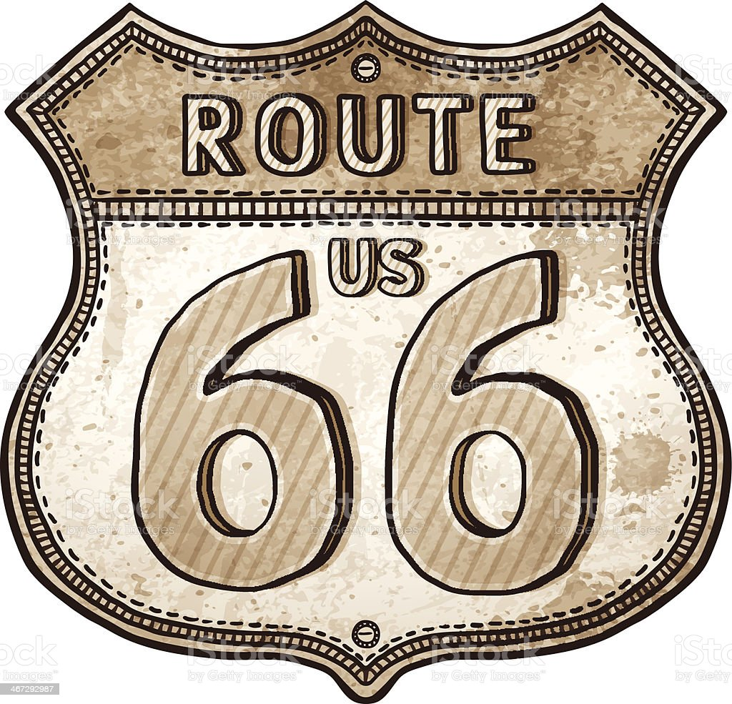 cartoon U.S. Route shield- route 66 road sign vector art illustration