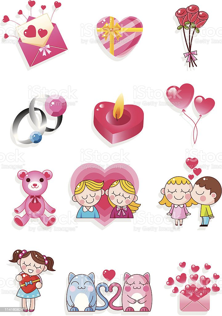 cartoon Valentine's Day icon royalty-free stock vector art