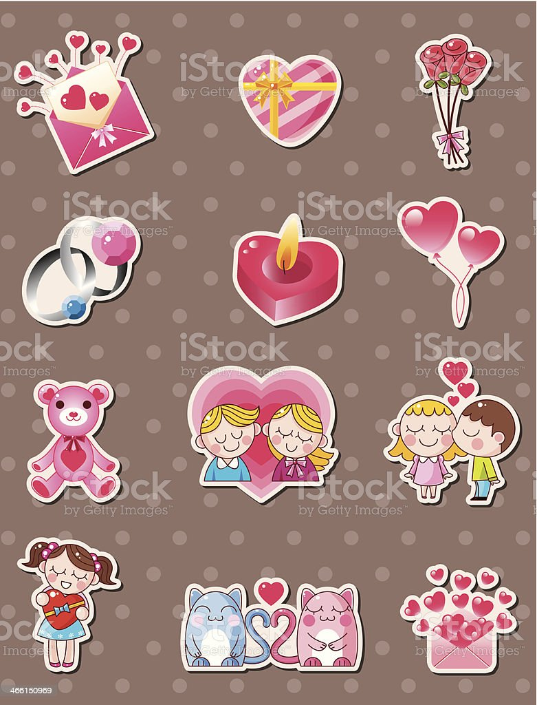 cartoon Valentine's Day stickers royalty-free stock vector art