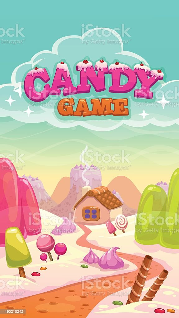 Cartoon vector candy world illustration with title vector art illustration